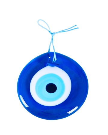 magic eye: Traditional Turkish Amulet Evil Eye on white background Stock Photo