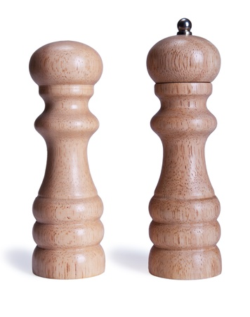peper: Close up view of wooden salt and pepper shakers  Stock Photo
