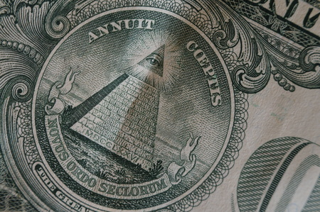 all seeing eye: Close-up of a dollar bill with all seeing eye Stock Photo