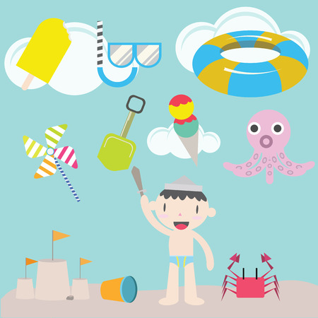 cloude: cute boy on the beach   Kids Illustration