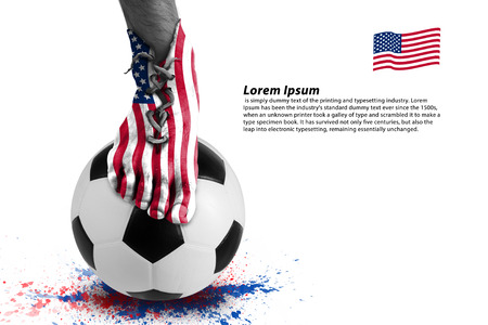 football shoes: Abstract image of soccer player ,colorful splash with sport ball on white background