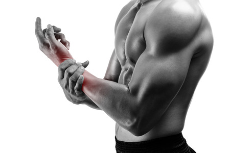sore muscles: Young man with hand pain ,isolated on white background
