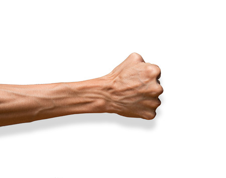 Hand with clenched a fist, isolated on a white background with clipping path Stok Fotoğraf