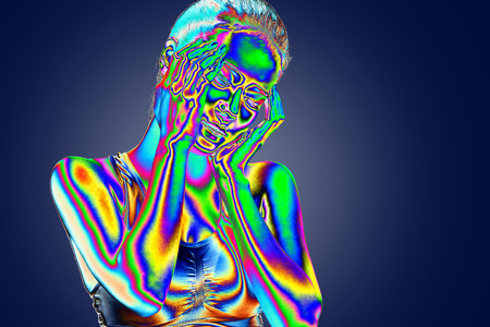 thermal imaging: Thermal imaging,Young woman with headache holding her hand to the head Stock Photo