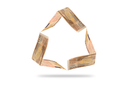euro bill: Euro bill in recycle shape symbol isolated on white with clipping path Stock Photo