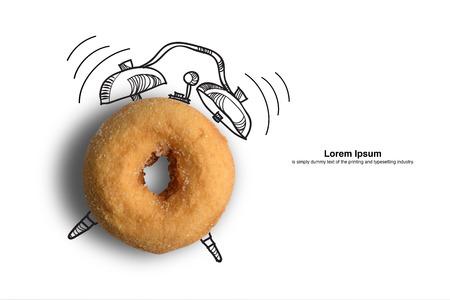 concept: la hora del desayuno, el concepto de reloj de dise�o de fondo