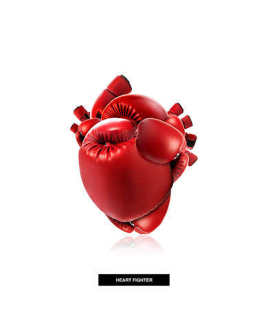 boxing equipment: Heart protection medical concept,Heart shape made from boxing glove,fight for life,isolated on white with clipping path Stock Photo