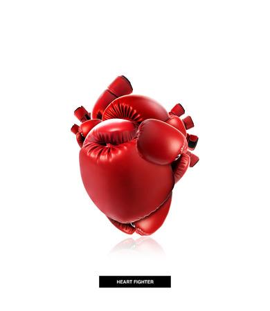 combate: Protecci�n del coraz�n concepto m�dico, de forma de coraz�n hecha de guante de boxeo, la lucha por la vida, aislado en blanco con trazado de recorte Foto de archivo