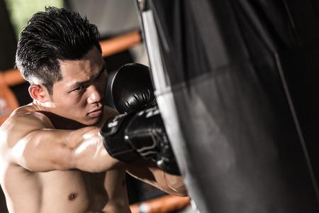 gimnasio: joven formación luchador musculoso en un saco de boxeo en el gimnasio