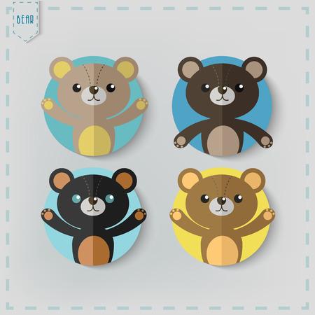 oso blanco: Peluche plana Estilo oso Vector Icon Set