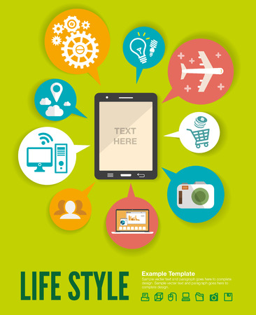 lots: Flat design modern  illustration infographic concept of variety using of smartphone with lots of multimedia icons and stylish mobile user interface on the phone. Illustration
