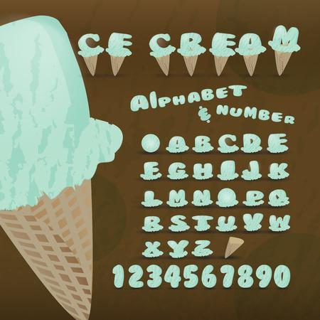 ice alphabet: Ice cream alphabet colorful font,Lowercase a-z.