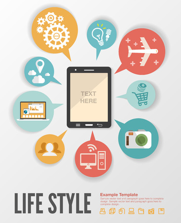 social networking: Flat design modern  illustration infographic concept of variety using of smartphone with lots of multimedia icons and stylish mobile user interface on the phone. Illustration