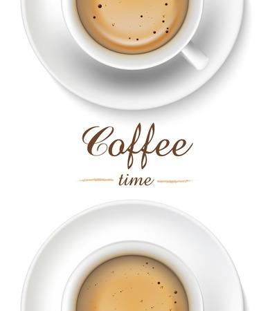 白い背景の平面図上のコーヒー カップ。