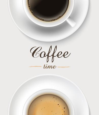 grano de cafe: Taza de café en el fondo blanco, vista desde arriba.