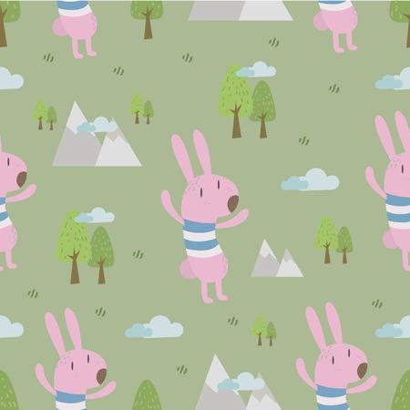 cute animals: Cute animals seamless pattern,rabbit in forest.