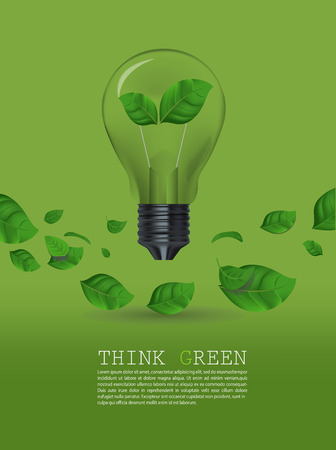 green bulb: Ecology Think green bulb  Illustration