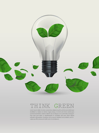 green flowers: Ecology Think green bulb  Illustration
