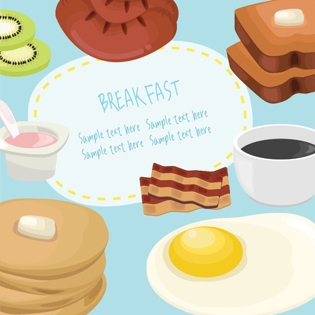 food and drinks: Breakfast concept with fresh food and drinks flat icons set