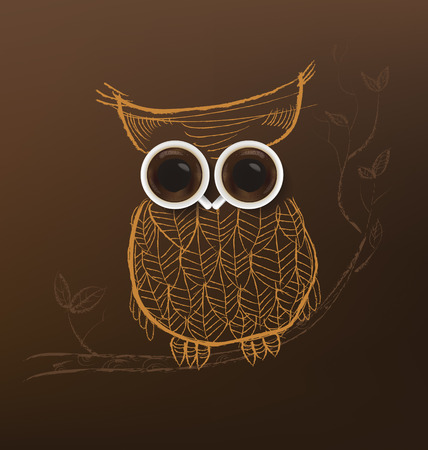 chicchi di caffè: Poster with a coffee cup. Owl coffee concept.