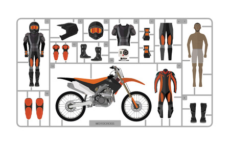 casco de moto: Silueta de la bici del motocrós con el casco aislado en blanco. Vectores