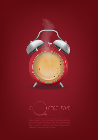 morning: coffee cup time clock concept design background