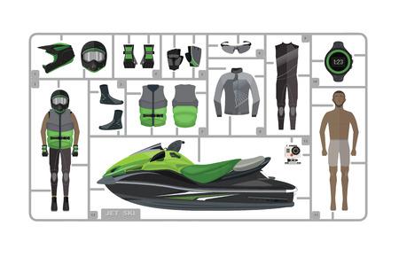 moto acuatica: Jet silueta de esquí con el casco aislado en blanco. Vectores