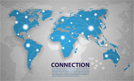 network: world map connection