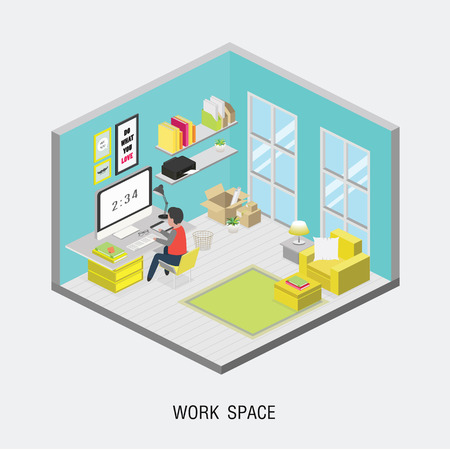 business team: Flat 3d isometric office concept. Web style modern info graphics with digital office workplace