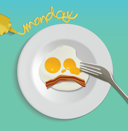 nourishment: Fried Egg isolated on white plate, fried egg with Monday word. Illustration