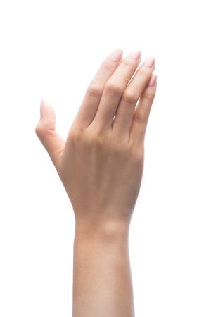 Hand holding virtual mobile phone isolated on white background Standard-Bild