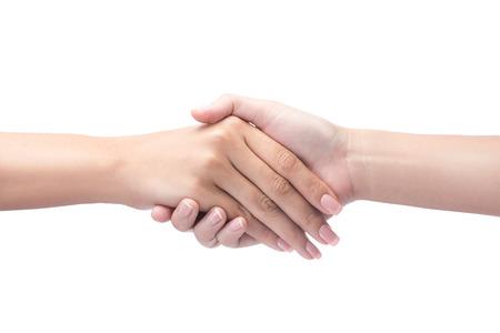 stretta di mano: Stretta di mano isolata su bianco con il percorso di clipping incluso