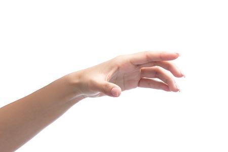 mano de la mujer objeto de retención aislado en blanco con trazado de recorte incluidos Foto de archivo