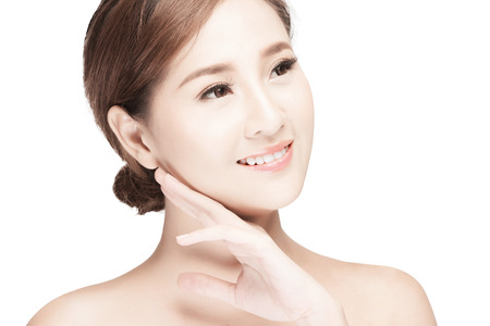 brightness: attractive asian woman skin care image on white background