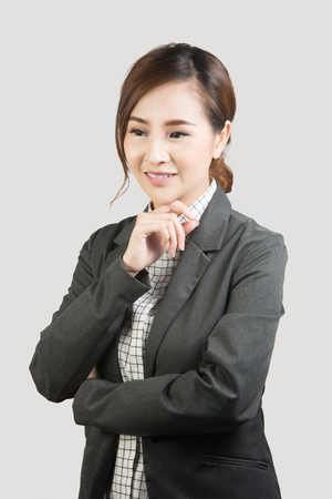 Smiling business woman. Isolated over background photo