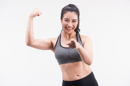 young fitness woman on white background. Active sporty life, wellness.healthy and lifestyle concept.