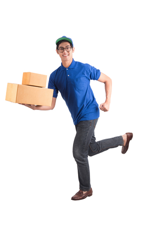 Delivery man running isolated on white with clipping path. Archivio Fotografico