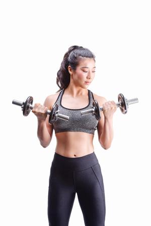 Women Weightlifting Dumbbells