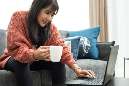 Happy casual beautiful woman working on a laptop. freelancer,work from home concept.