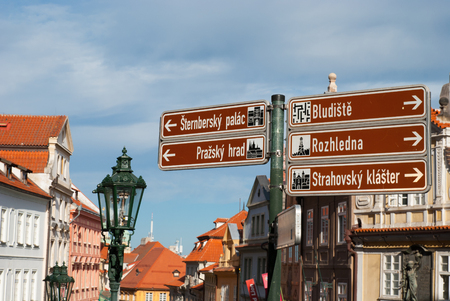 Orientation boards at Old Town with view - Prague Stock Photo
