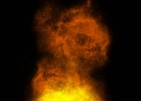Yellow and orange fire nebula on black background Stock Photo