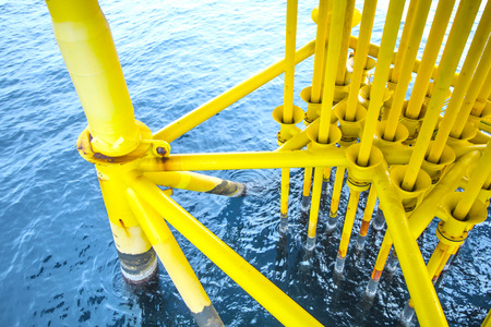 construction platform: Offshore construction platform for production oil and gas, Oil and gas industry and hard work, Production platform and operation process by manual and auto function