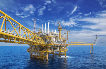 Offshore Industry oil and gas production petroleum pipeline,Offshore gas production flatform. Stock Photo