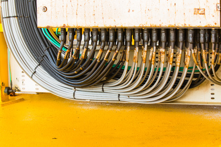 junction: Electrical junction box with cable grand  connection Stock Photo