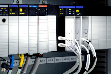 PLC programable logic controler,This picture show hard wiring communication socket connection Stok Fotoğraf