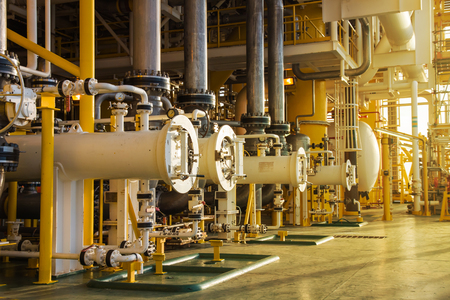oil and gas industry: Sun set time Oil and gas process pipelines in oil and gas process platform,oil and gas industry.