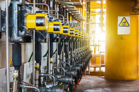 inoperative: Control valve in oil and gas process, The control valve used to controlled pressure in the system as Controller command, Oil and gas industry use to controlled the system. Stock Photo