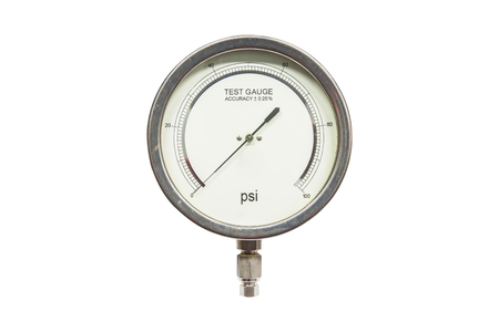 accuracy: Pressure test gauge isolated on white background,analog Pressure test gauge for pressure test accuracy 0.25% Stock Photo