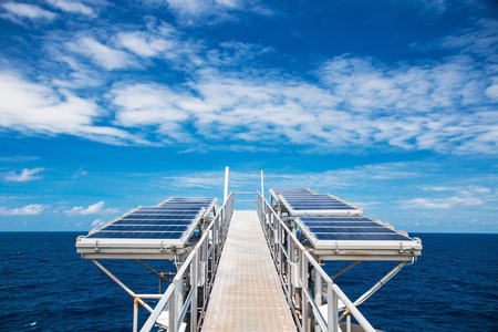 Solar cell panels in offshore oil and gas supply power to process control systems