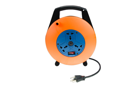 Power supply out let plug extention cord isolated against a white background Stok Fotoğraf